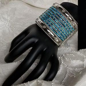 Jewelry - Waterfall of Blue Beaded Silver Clamper Bracelet